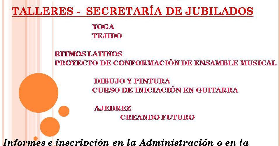 TALLERES – SECRETARÍA DE JUBILADOS