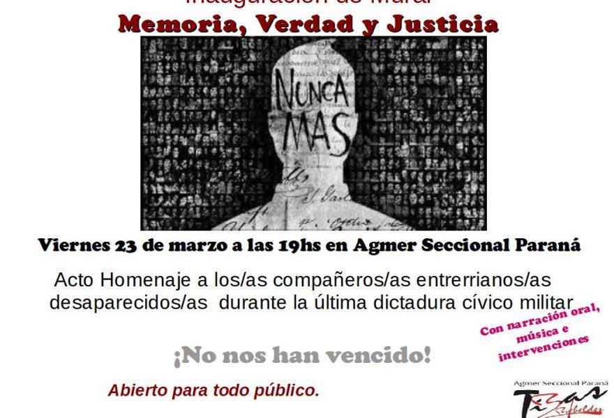 Inauguración Mural  Memoria, Verdad y Justicia.