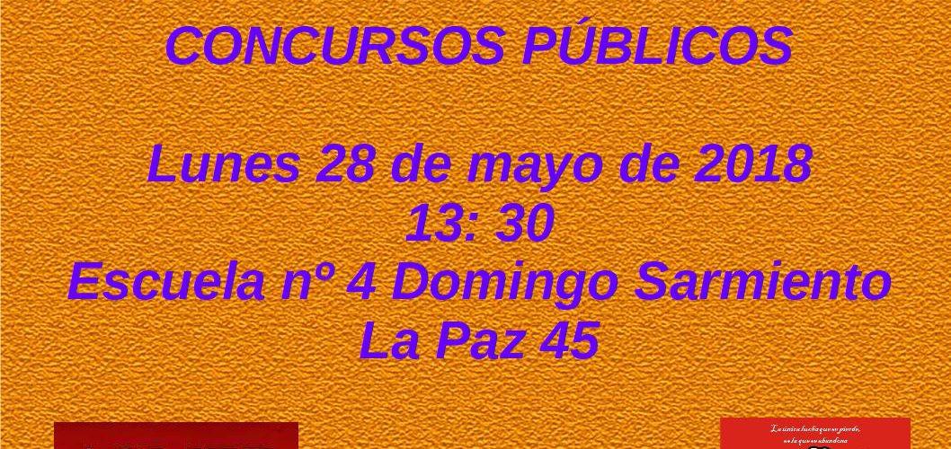 Concursos Públicos. Cargos y OM,  Lunes 28 de mayo de 2018