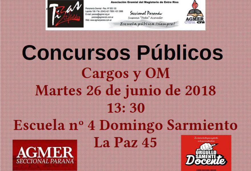 Concursos Públicos 26 de junio de 2018. Cargos Y OM