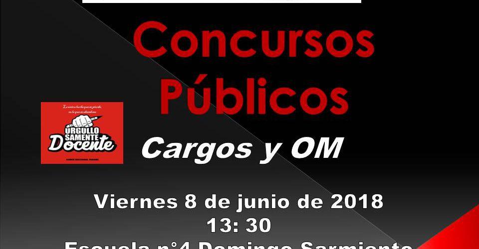 Concursos Públicos. Cargos y OM.  viernes 8 de junio de 2018.