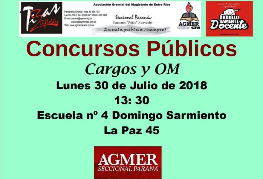 Concursos Públicos. Lunes 30 de Julio de 2018. Cargos y Om