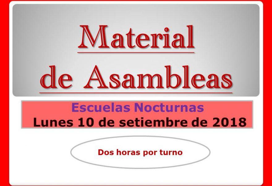 Material de Asambleas Escuelas Nocturnas. 10 de setiembre de 2018