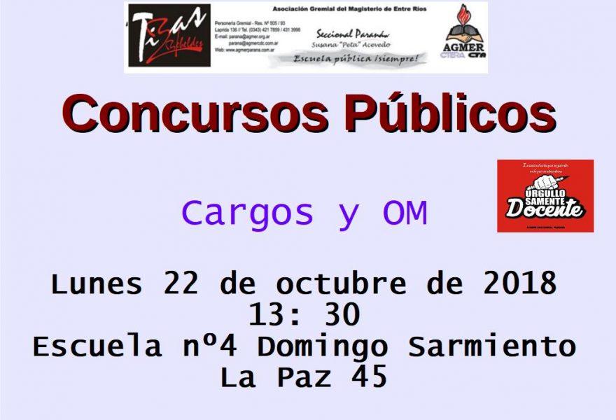 Concursos Públicos. Cargos y OM.   Lunes 22 de octubre de 2018
