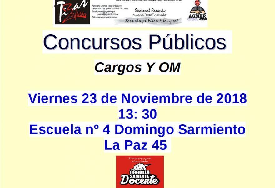 Concursos Públicos. Cargos y OM. viernes 23 de Noviembre de 2018