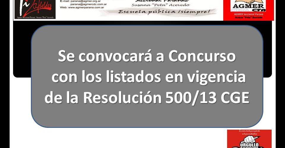 Se convocará a concurso con los listados en vigencia de la Resolución 500/13 CGE
