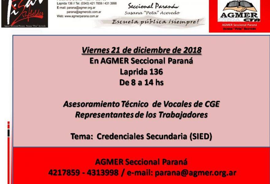 Asesoramiento Técnico de Vocales de CGE. Viernes 21 de diciembre de 2018.  En AGMER Seccional Paraná
