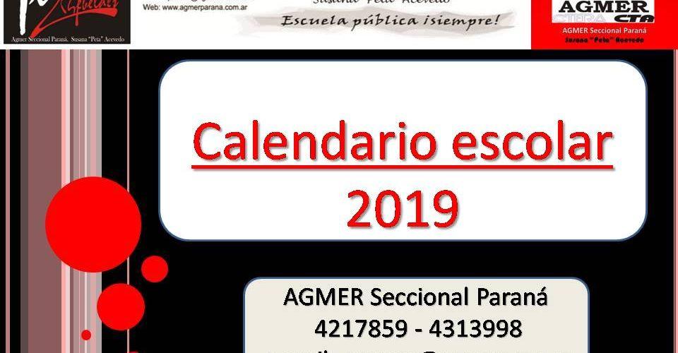CALENDARIO ESCOLAR AÑO 2019
