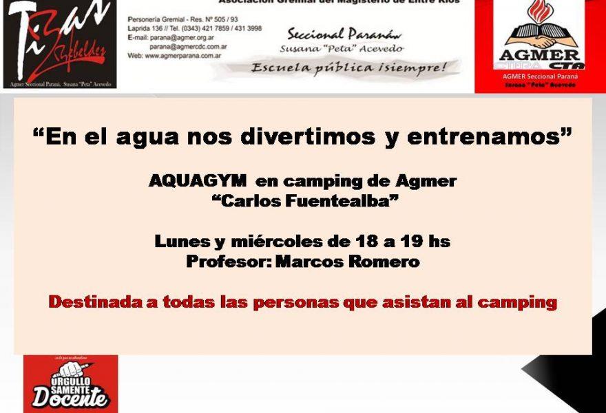 """En el agua nos divertimos y entrenamos""""  AQUAGYM en camping de Agmer""""Carlos Fuentealba"""""""