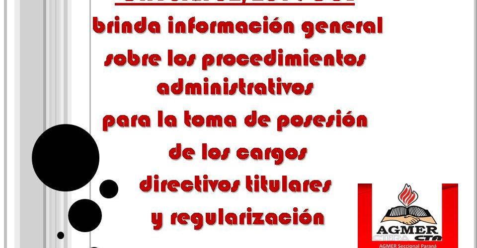 Circular 02/2019 CGE, procedimientos administrativospara la toma de posesión de los cargosdirectivos titularesy regularización