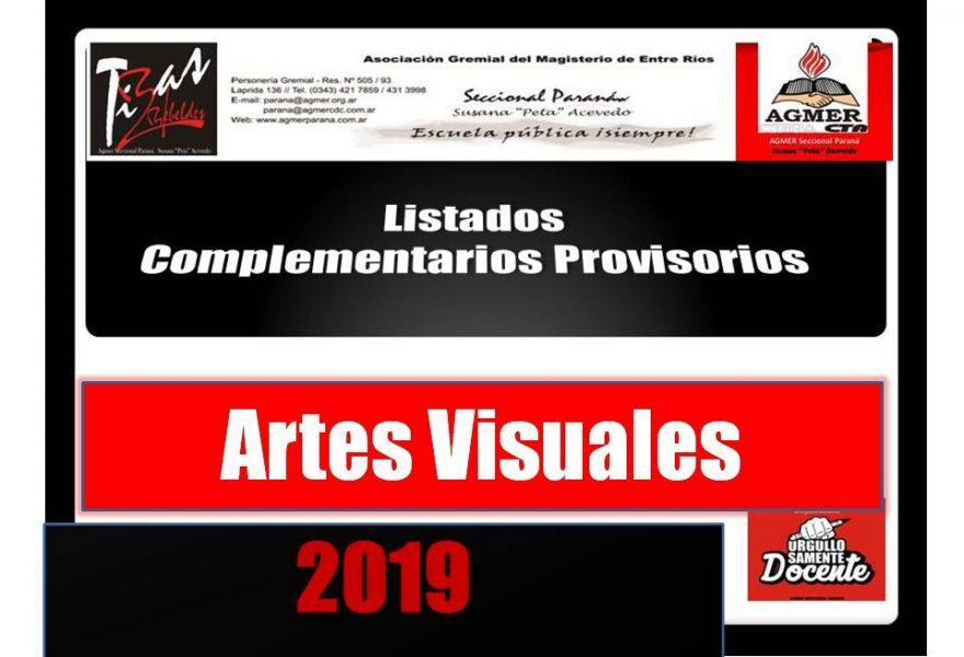 Listado Complementario de Artes Visuales 2019