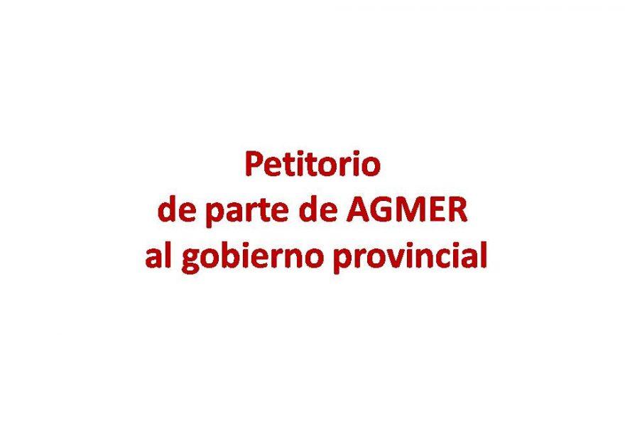 Petitorio de parte de AGMER al gobierno provincial