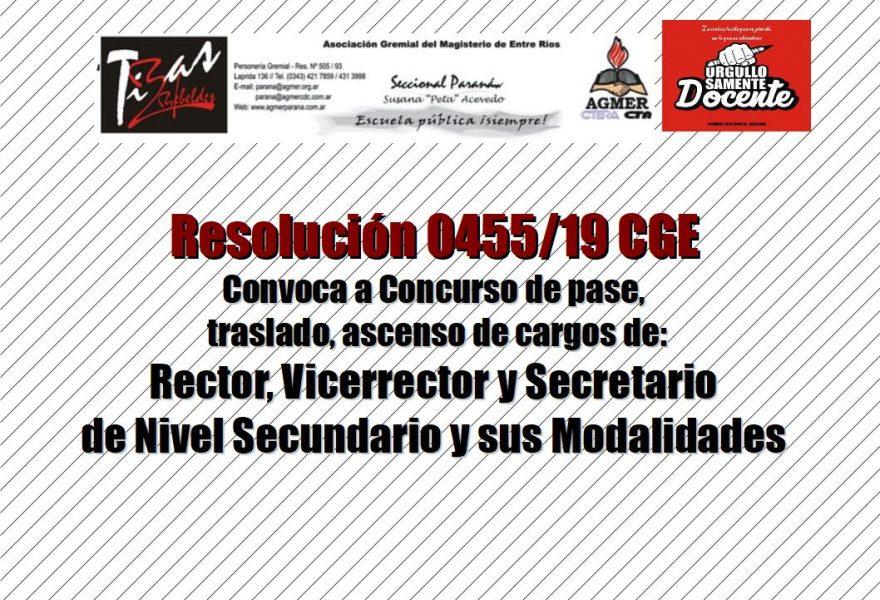 Resolución 0455/19 CGE Convoca a Concurso de pase,  traslado, ascenso de cargos de:  Rector, Vicerrector y Secretario  de Nivel Secundario y sus Modalidades