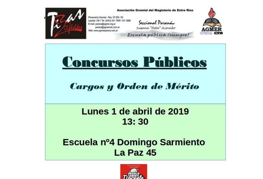 Concursos Públicos.  Cargos y Orden de Mérito. Lunes 1 de abril de 2019