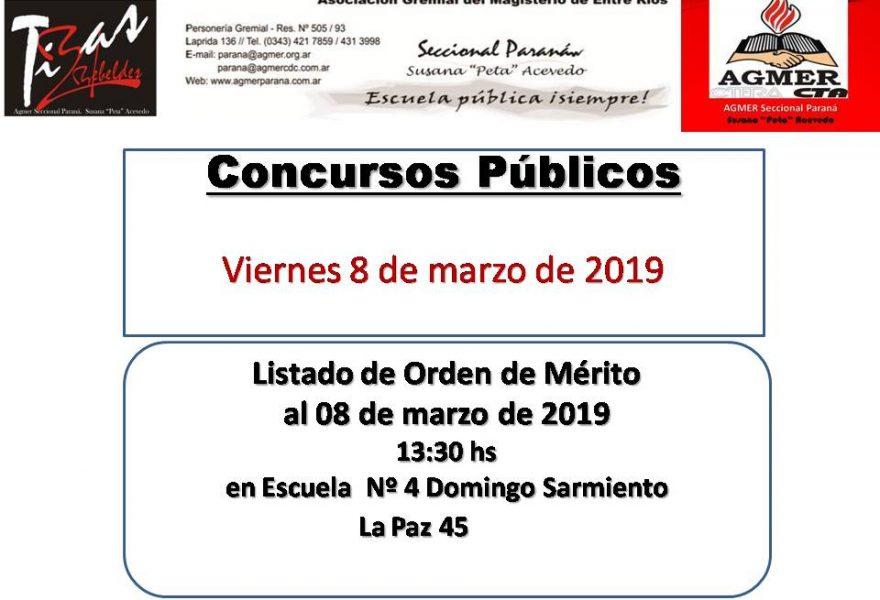 Concursos Públicos.  Viernes 8 de marzo de 2019. Listado de Orden de Mérito  al 08 de marzo de 2019