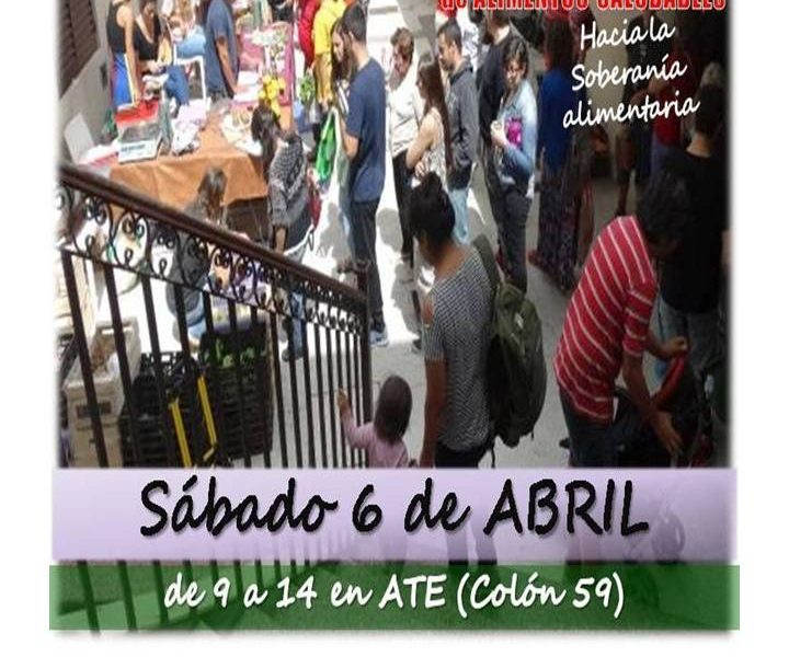 6 de abril de 2019. Feria de alimentos saludables, de 9 a 14 en ATE (Colón 59)