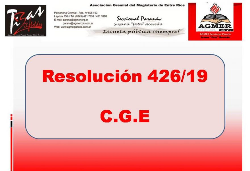 Resolución 426/19  C.G.E