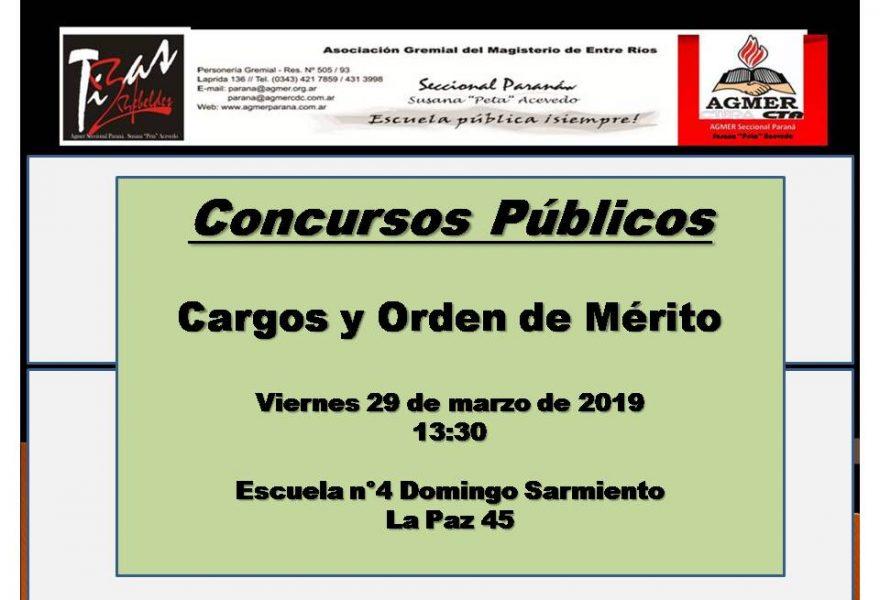 Viernes 29 de marzo de 2019. Concursos Públicos.   Cargos y Orden de Mérito