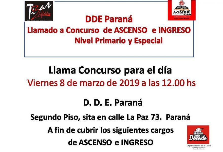 DDE ParanáLlamado a Concurso de ASCENSO e INGRESONivel Primario y Especial