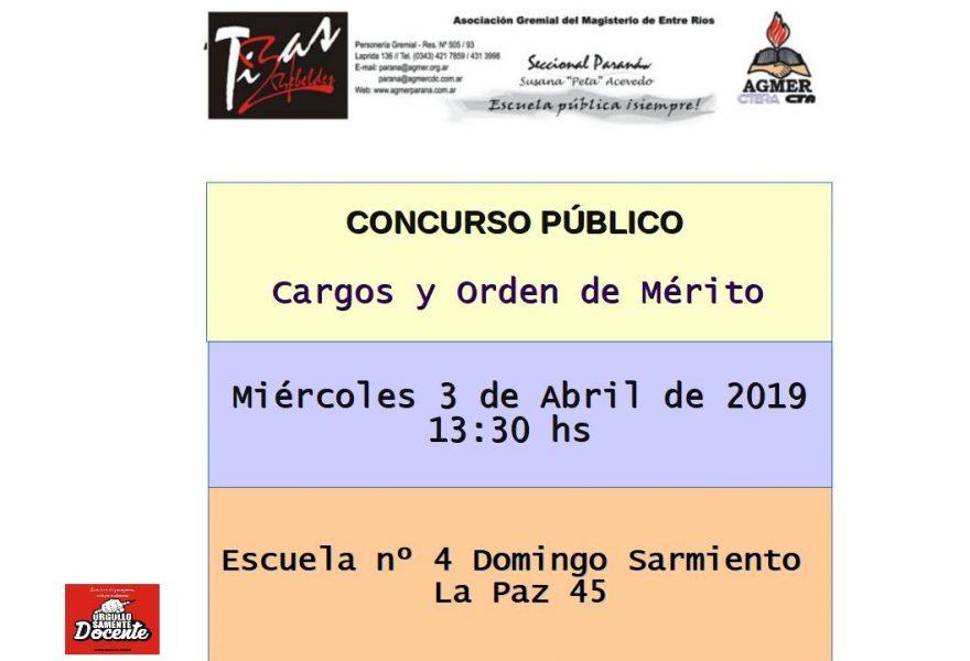 Concurso Público.  Cargos y Orden de Mérito al 3 de Abril de 2019
