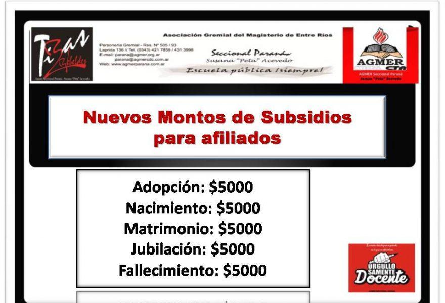 Nuevos montos en los subsidios para afiliados