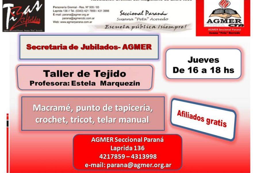 Secretaria de Jubilados  Taller de TEJIDO: Profesora Estela Marquezin