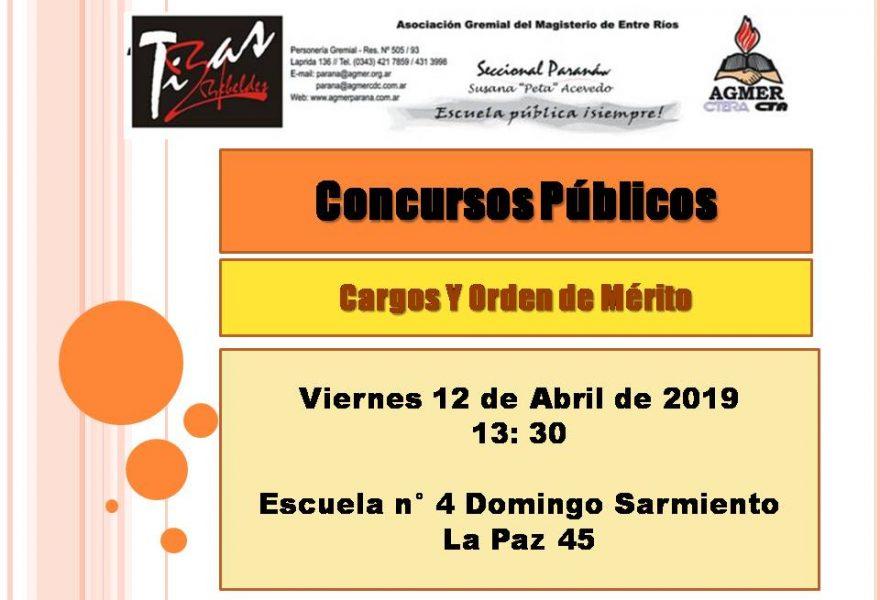 Viernes 12 de Abril de 2019. Concursos Públicos. Cargos Y Orden de Mérito