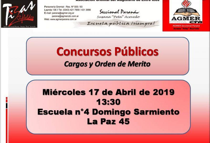 Miércoles 17 de Abril de 2019. Concursos Públicos.Cargos y Orden de Mérito
