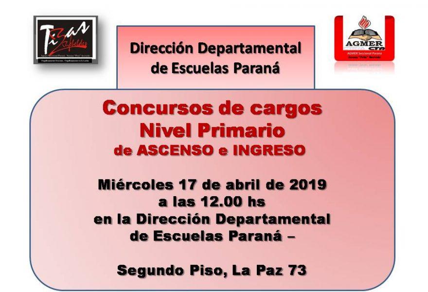 Concursos Ascensos e Ingreso Nivel Primario . Miércoles  17 Abril de 2019