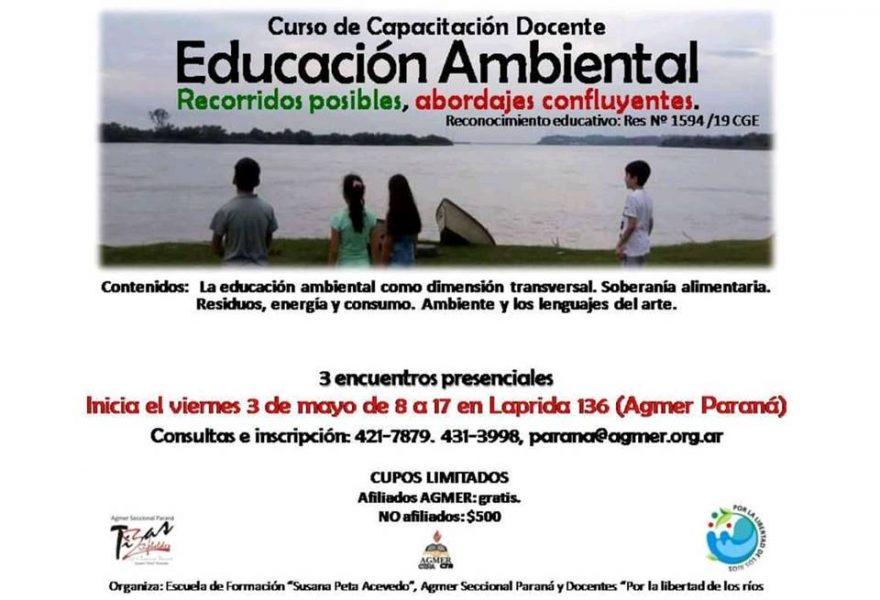"""Viernes 3 de mayo de 2019 inicia  Capacitación """"Educación Ambiental: recorridos posibles, abordajes confluyentes"""""""