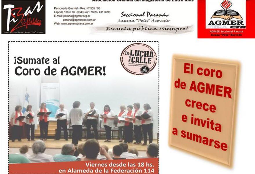 El coro de AGMER crece e invita a sumarse