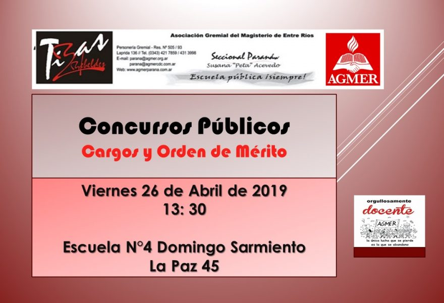 Viernes 26 de Abril de 2019. Concursos Públicos. Cargos. Orden de Mérito