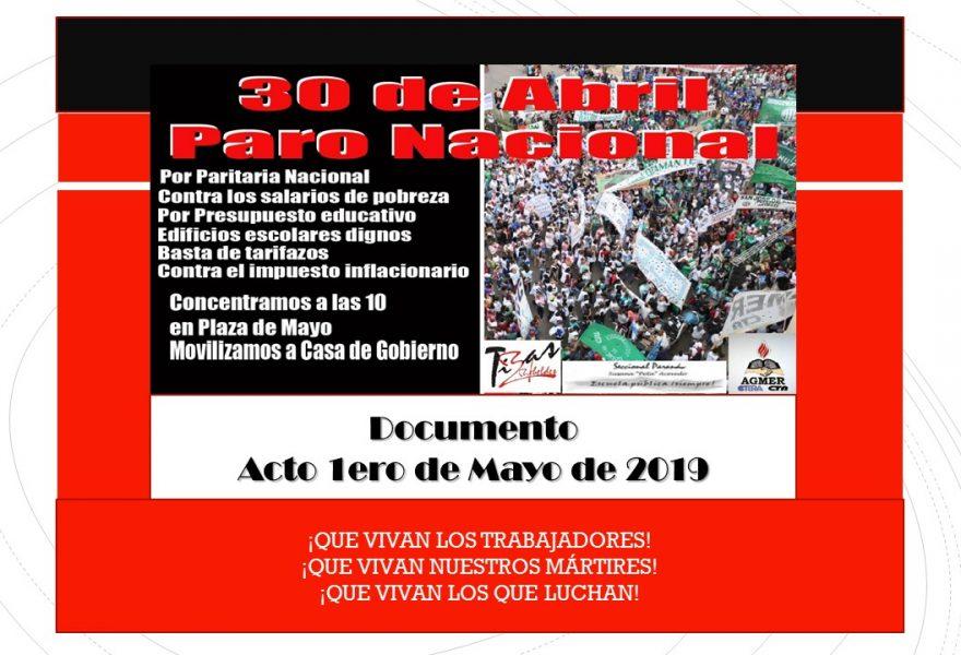 DOCUMENTO ACTO 1º DE MAYO 2.019