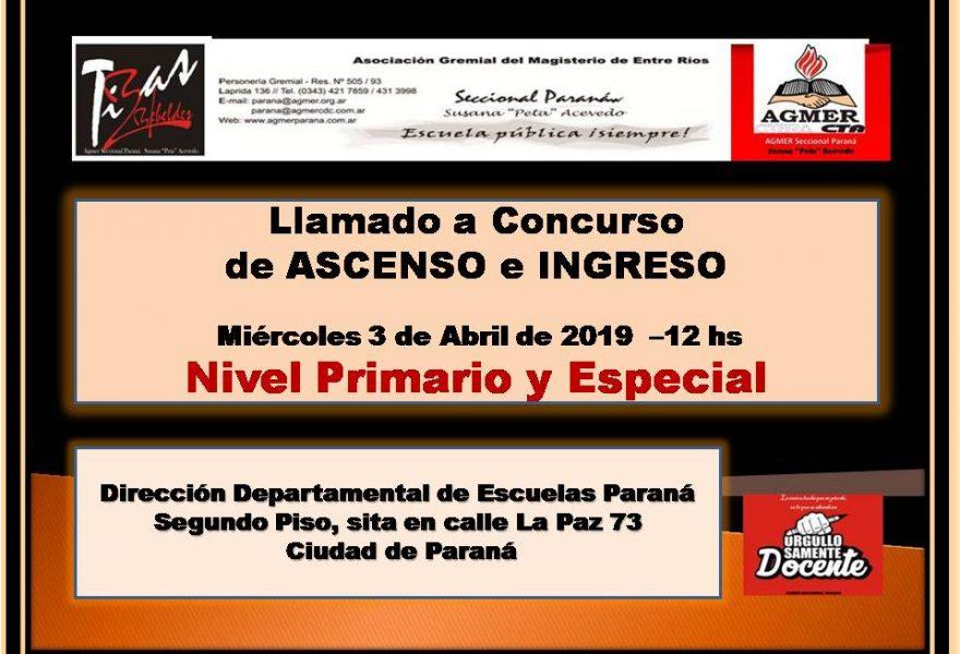 Llamado a Concurso de ASCENSO e INGRESO. Miércoles  3 de Abril de 2019 – Nivel Primario y Especial