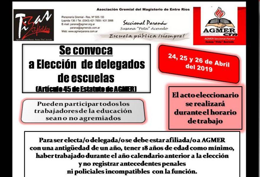 24, 25 y 26 de abril de 2019. Elección de delegados de escuelas