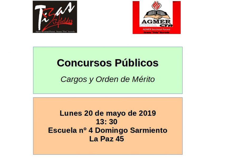 Lunes 20 de mayo de 2019. Concursos Públicos.  Cargos y Orden de Mérito
