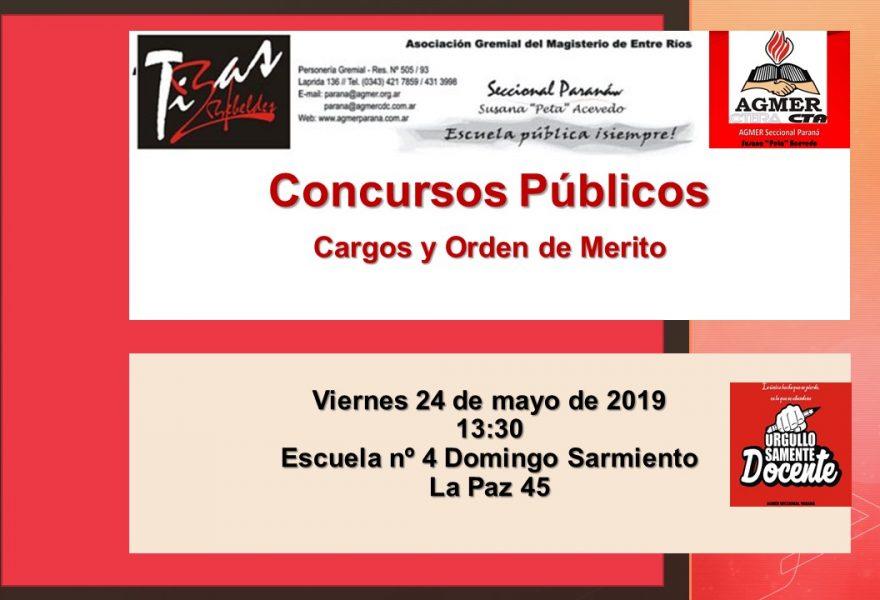 Viernes 24 de mayo de 2019. Concursos Públicos. Cargos y Orden de Mérito