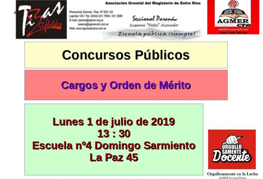 Lunes 1 de julio de 2019. Concurso Público. Cargos y Orden de Mérito