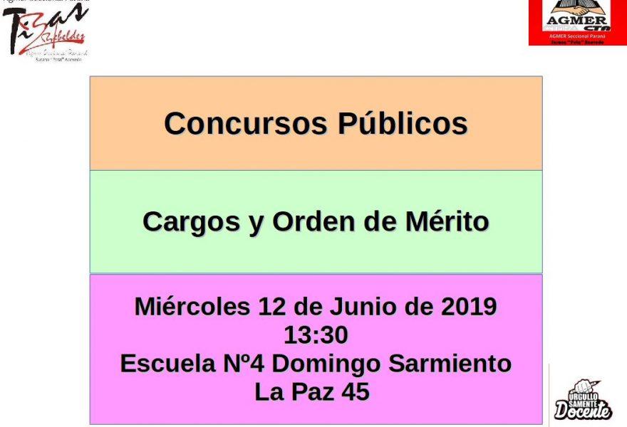 Miércoles 12 de Junio de 2019. Concurso Público. Cargos y Orden de Mérito