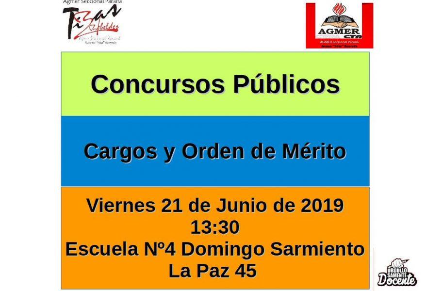 Viernes 21 de Junio de 2019.  Concurso Público  Cargo y Orden de Mérito