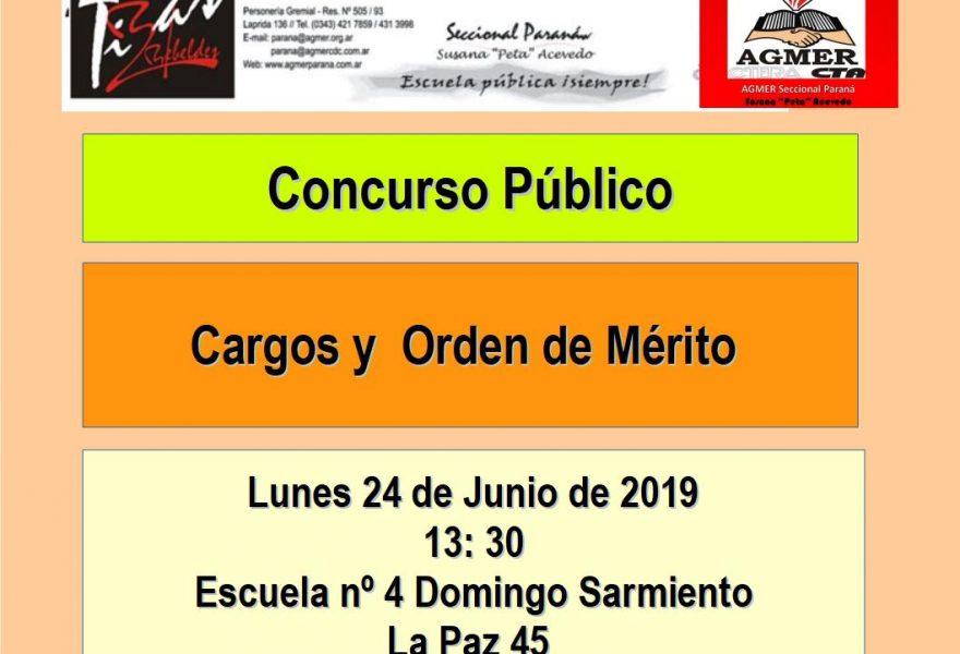 Lunes 24 de Junio de 2019. Concurso Público. Cargos y  Orden de Mérito