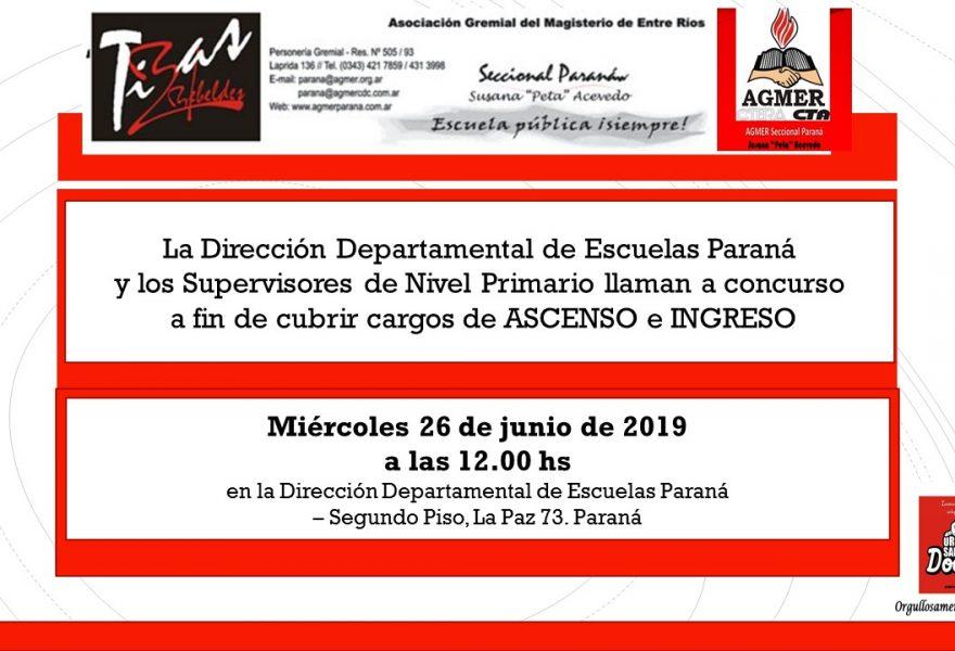Miércoles 26 de junio de 2019. Concurso de Cargos de Ascenso e Ingreso de Nivel Primario