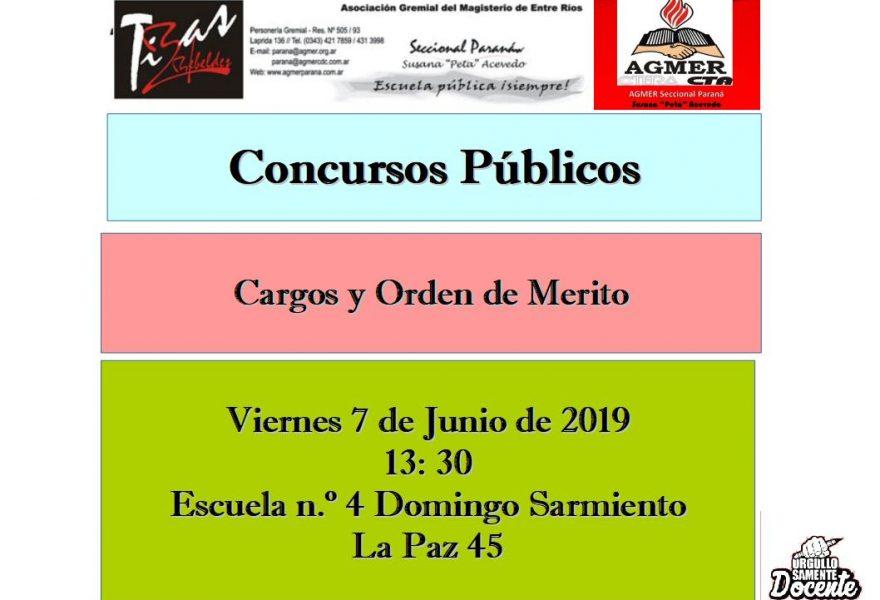 Viernes 7 de junio de 2019. Concursos Públicos; Cargos y Orden de Mérito