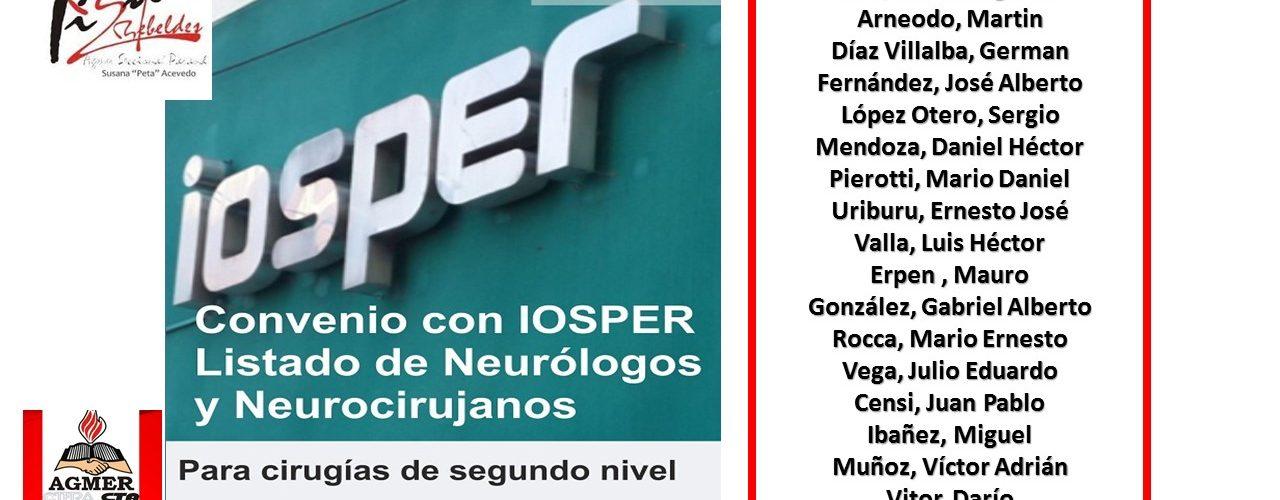 Convenio IOSPER y Asociación Entrerriana de Neurología y Neurocirugía: Listado de profesionales