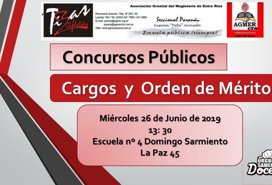 Miércoles 26 de Junio de 2019. Concursos Públicos. Cargos y Orden de Merito