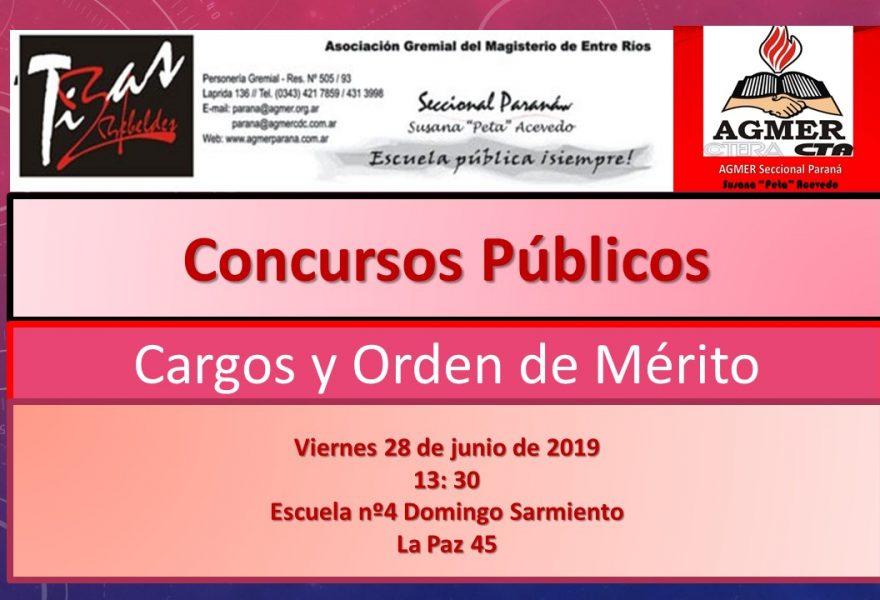 Viernes 28 de Junio de 2019. Concursos Públicos. Cargos y Orden de Merito