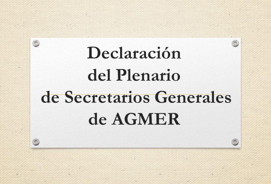 Declaración del Plenario de Secretarios Generales de AGMER