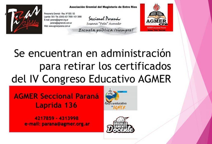 Se encuentran en administración para retirar los certificados del IV Congreso Educativo AGMER