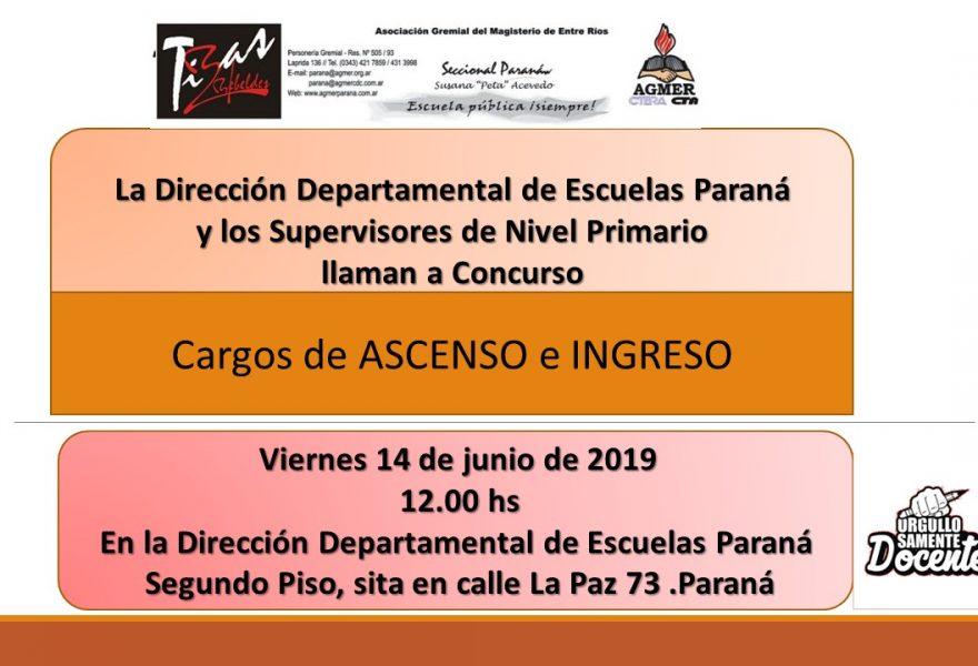 Viernes 14 de Junio de 2019. Llamado a Concurso de Cargos de ASCENSO e INGRESO