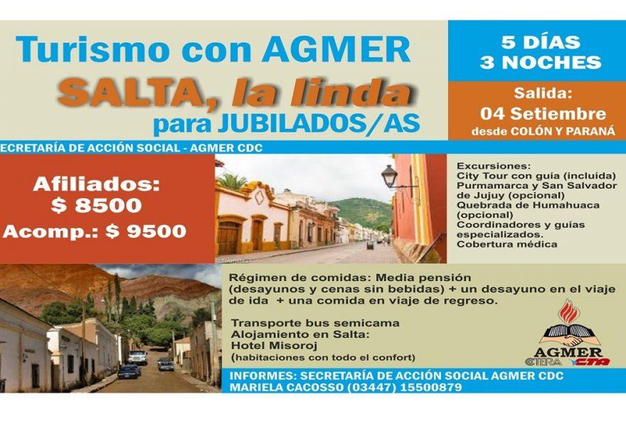 Turismo con Agmer. Viaje a Salta para Jubilados/as